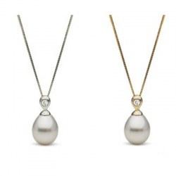 Pendente in oro 18k Diamante e perla Australiana bianca a goccia 10-11 mm AA+