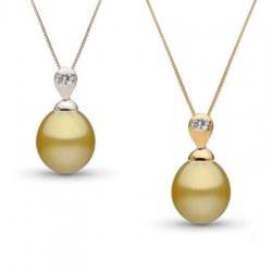 Pendente in oro 18k Diamante e perla delle Filippine dorata a goccia AAA