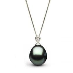 Pendente in argento diamante e perla di Tahiti Drop a goccia AAA