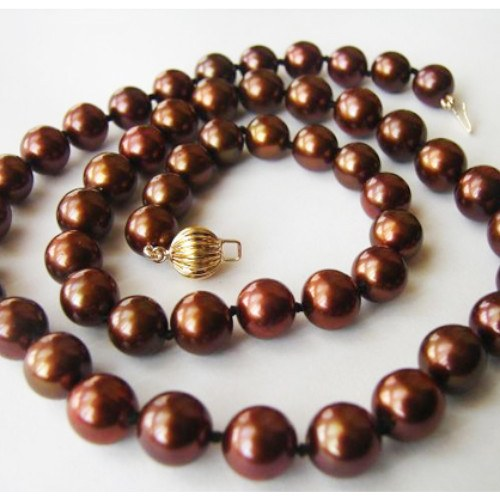 Collana 43/44 cm perle cioccolato d'acqua dolce 8-8,5 mm qualità AA+