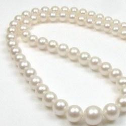 Collana 45 cm perle d'acqua dolce bianche degradate da 4 a 9 mm AA+/AAA