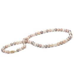 Collana 66 cm di perle di coltura d'acqua dolce da 7-8 mm, multicolore