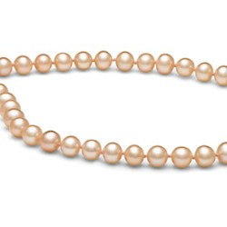Collana 45 cm di perle di coltura d'acqua dolce da 6-7 mm, rosa pesca