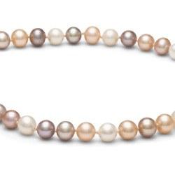 Collana 40 cm di perle di coltura d'acqua dolce da 6-7 mm, multicolore