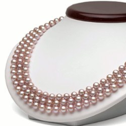Collana Triplo Filo 41/43/45 cm Perle DOLCEHADAMA lavanda 6-7 mm