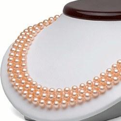 Collana Triplo Filo 43/45/47 cm Perle Acqua Dolce rosa pesca 6-7 mm