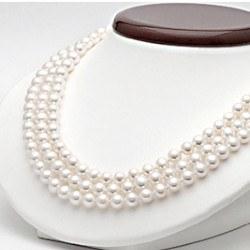 Collana Triplo Filo 43/45/47 cm Perle DOLCEHADAMA bianche 6-7 mm