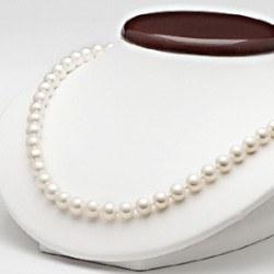 Collana 50 cm di perle di coltura d'acqua dolce da 7-8 mm, bianche
