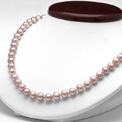 Collana 45 cm di perle di coltura d'acqua dolce da 7-8 mm, lavanda