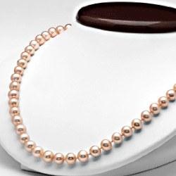 Collana 45 cm di perle di coltura d'acqua dolce da 7-8 mm, rosa pesca