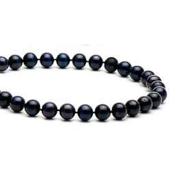 Collana 40 cm di perle di coltura d'acqua dolce da 7-8 mm, nere