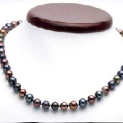 Collana 45 cm di perle di coltura d'acqua dolce da 7-8 mm, nere