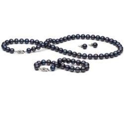 Parure 3 gioielli di perle di coltura d'acqua dolce da 7-8 mm 45/18 cm nere