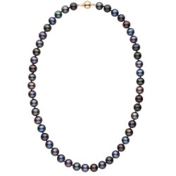 Collana 45 cm di perle d'acqua dolce nere da 8 a 9 mm