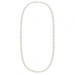 Collana sautoir 70 cm di perle d'acqua dolce bianche da 8-9 mm