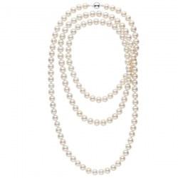 Collana Sautoir 130 cm di perle di coltura d'acqua dolce, 9-10 mm, bianche