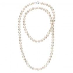 Collana Sautoir 90 cm di perle di coltura d'acqua dolce, 9-10 mm, bianche