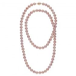 Collana sautoir 90 cm di perle d'acqua dolce lavanda da 9-10 mm