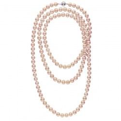 Collana sautoir 130 cm di perle d'acqua dolce lavanda da 8-9 mm