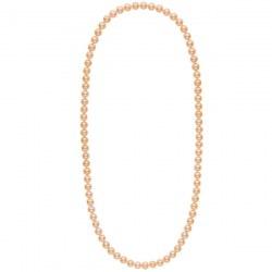Collana sautoir 70 cm di perle d'acqua dolce rosa pesca da 8-9 mm