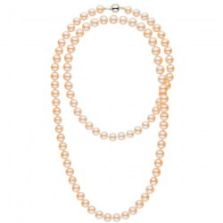 Collana sautoir 114 cm di perle d'acqua dolce rosa pesca da 9-10 mm