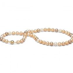 Collana 45 cm di perle di coltura d'acqua dolce da 8-9 mm, multicolore