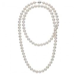 Collana Sautoir 114 cm di perle di coltura d'acqua dolce, 9-10 mm, bianche