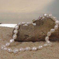 Collana 40 o 45 cm perle barocche di acqua dolce bianche 10-11 mm