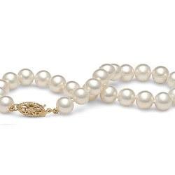 Braccialetto 18 cm di perle di coltura d'acqua dolce bianche da 6-7 mm