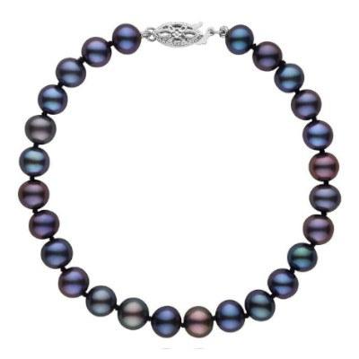 Braccialetto 18 cm di perle di coltura d'acqua dolce da 6-7 mm, nere