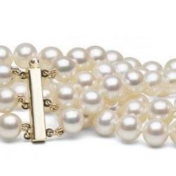 Braccialetto triplo filo di perle d'acqua dolce bianche da 9-10 mm 3x18cm