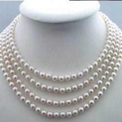 Collana Quadruplo Filo 40/42/44/46 cm Perle DOLCEHADAMA bianche 6-7 mm