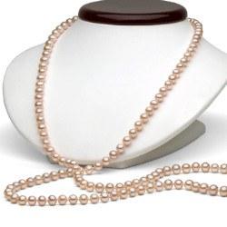 Collana Sautoir 114 cm perle d'acqua dolce 8-9 mm rosa pesca DOLCEHADAMA