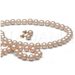 Parure 3 gioielli 45/18 cm perle d'acqua dolce 7-8 mm Pesca DOLCEHADAMA
