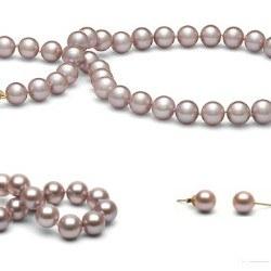 Parure 3 gioielli 45/18 cm perle d'acqua dolce 8-9 mm lavanda DOLCEHADAMA