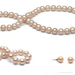 Parure 3 gioielli 45/18 cm perle d'acqua dolce 8-9 mm Pesca DOLCEHADAMA