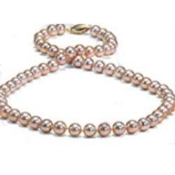 Collana di perle d'acqua dolce da 6 a 7 mm 45 cm rosa pesca metalliche