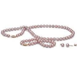 Parure 3 gioielli di perle di coltura d'acqua dolce, 45/18 cm 6-7 mm, lavanda