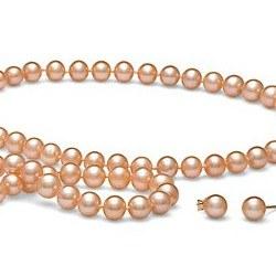 Parure 3 gioielli di perle di coltura d'acqua dolce, 6-7 mm, rosa pesca
