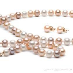 Parure 3 gioielli di perle di coltura d'acqua dolce 6-7 mm, multicolore