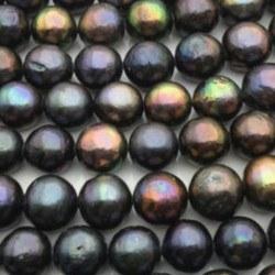 Collana 43 cm perle d'acqua dolce nere Edison 11-13 mm AA quasi rotonde