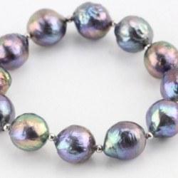 Braccialetto elastico perle KASUMI acqua dolce nere 10-12 mm biglie Argento