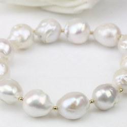 Braccialetto di perle barocche d'acqua dolce 11-13 mm bianche con perline placcate oro
