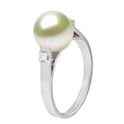 Anello in argento 925 diamanti e perla di coltura Akoya AAA