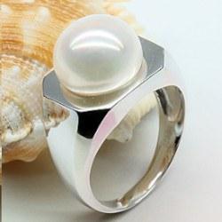 Anello Argento 925 Perla d'Acqua Dolce bianca 11-11,5 mm AA+ forma a bottone