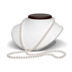 Collana lunga 130 cm di perle di coltura Akoya 6-6.5 mm, bianche