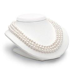 Collana Triplo Filo 43-45-47 cm di perle Akoya da 6,5-7 mm AAA Oro 18k