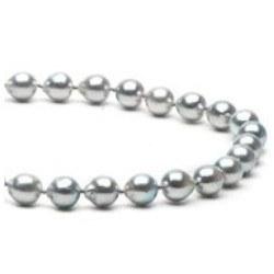 Collana di Perle Akoya Barocche 45 cm, 7-7.5 mm blu argento
