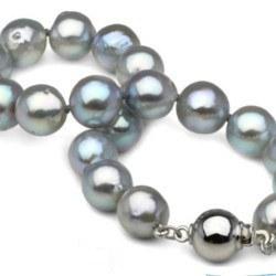 Braccialetto di Perle Akoya barocche, 8-8.5 mm blu argento, 18 cm