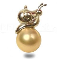 Pendente a forma di lumaca in oro 18k e perla dorata delle Filippine AAA